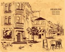 手绘街边咖啡厅插画