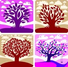 美丽大树矢量插画