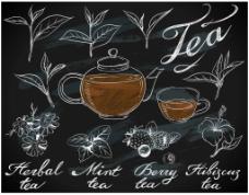 手绘时尚下午茶插画
