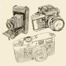 3款手绘相机设计矢量