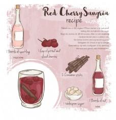 手绘美味的樱桃酒插画