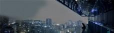城市建筑夜景banner背景