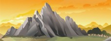 黄色石山风景banner背景