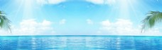 蓝色天空banner背景素材