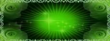 放射性绿色banner背景