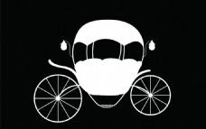 童话黑白南瓜车矢量图案