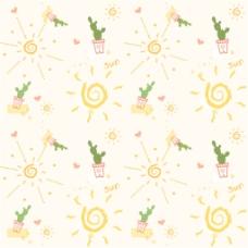 可爱太阳盆栽无缝背景图