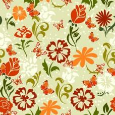 复古花朵背景矢量素材