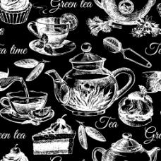 黑白时尚花茶背景