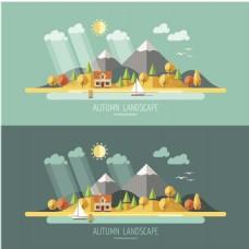 扁平化岛屿背景图