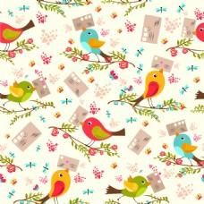 可爱卡通小鸟矢量背景素材