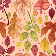 手绘唯美秋季树叶背景素材