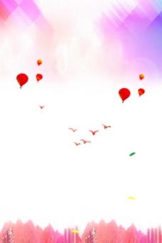 彩色渐变热气球背景