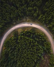 俯视高空圆形道路背景