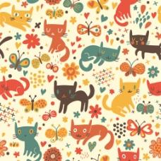 手绘可爱彩色猫咪蝴蝶背景图