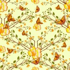 黄色复古花朵背景矢量素材
