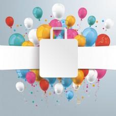 正方形节日气球海报背景矢量素材