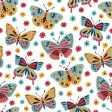 手绘彩色花朵蝴蝶无缝背景图
