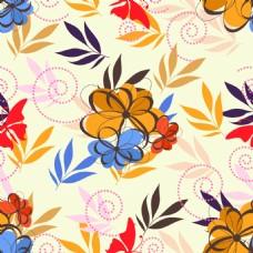 手绘抽象花朵背景矢量素材