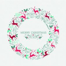 圆形蓝色圣诞节新年装饰背景矢量素材