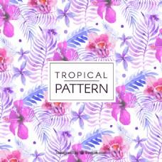 紫色唯美水彩手绘花卉背景素材