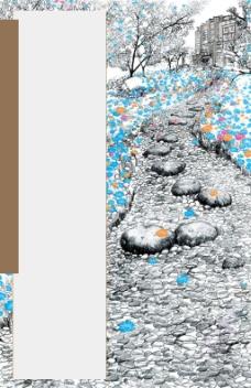 油画灰色石子路背景