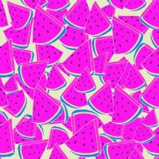 粉红色西瓜水果无缝拼接图案矢量背景