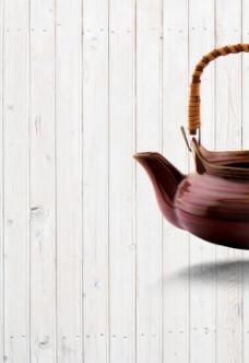 简约茶艺茶壶背景