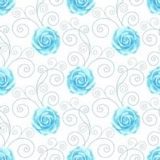蓝色简约玫瑰花蕾丝矢量背景