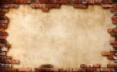 红色墙砖几何背景