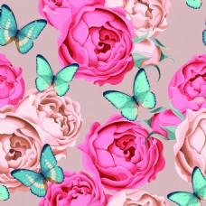 蓝色蝴蝶与花朵纹理图案矢量背景