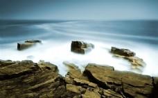 大气云海岩石背景