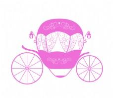 粉色少女灰姑娘南瓜车矢量背景图案