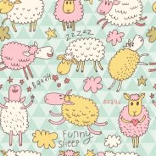手绘彩色小羊无缝背景图