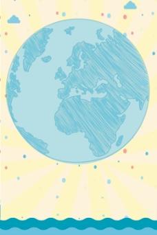 手绘地球大海背景