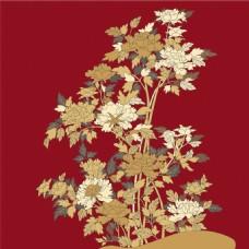 金色花束红色背景图