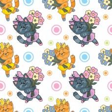黑色猫咪可爱动物图案矢量素材