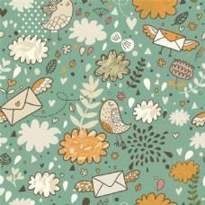 手绘彩色花朵小鸟信封背景图