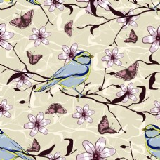 复古花儿和鸟背景矢量素材
