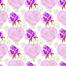 紫色爱心玫瑰花蕾丝矢量背景