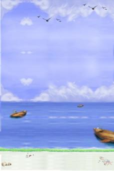 远方风景大海小船背景
