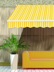 黄蓬阳蓬窗户椅子绿树背景