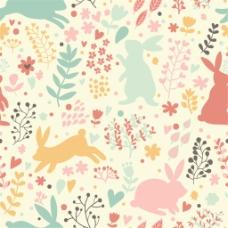 手绘彩色花草小兔背景图