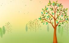 小清新绿色大树背景
