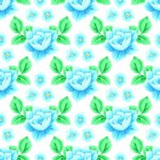 蓝色手绘绿叶玫瑰花蕾丝矢量背景