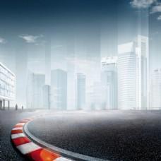 城市建筑道路背景