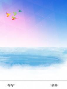 卡通彩色海鸟背景