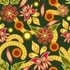 橙色抽象花朵背景矢量素材