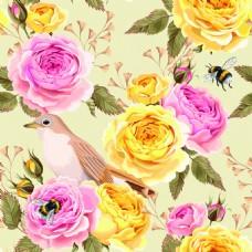 手绘春天花鸟纹理图案矢量背景