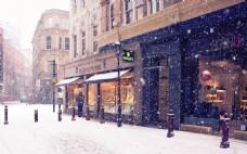 浪漫国外街景雪花背景